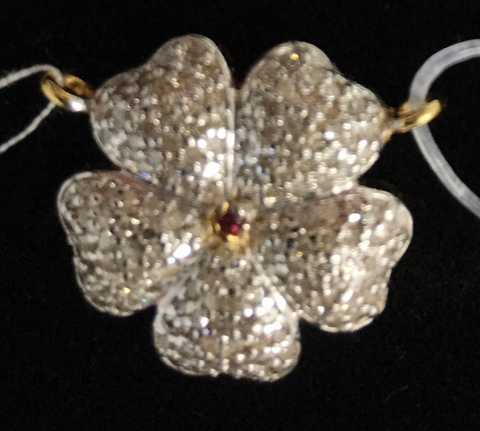 "14k Gold Flower Shape Diamond Pendants. Genuine handmade pave diamond Pendant. Approx Size 0.80 ""(20 mm)"
