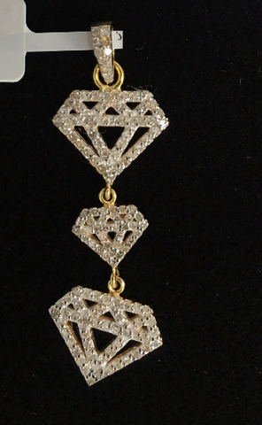 "14k Gold Diamond Shape Diamond Pendants. Genuine handmade pave diamond Pendant. Approx Size 1.60 ""(15 x 40 mm)"
