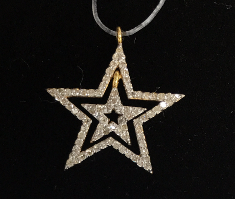 "14k Gold Open Star Diamond Pendants. Genuine handmade pave diamond Pendant. Approx Size 0.84 ""(21 mm)"