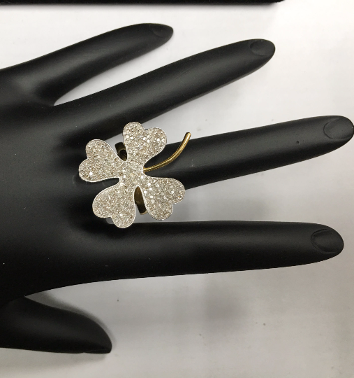 "14k Solid Gold Flower Diamond Rings. Genuine handmade pave diamond Rings. Approx Size 1.04 ""(26 x 26 mm)"