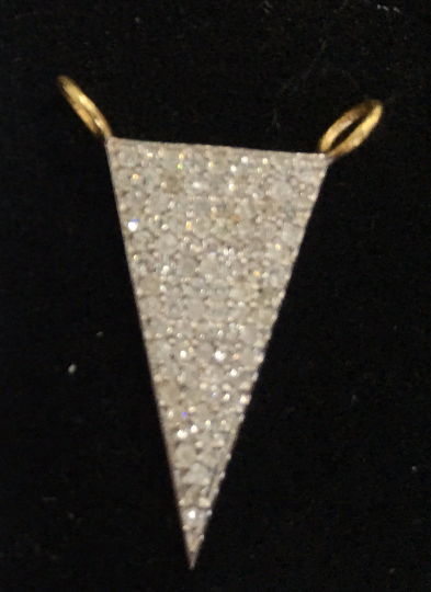 "14k Solid Gold Triangle Diamond Pendants. Genuine handmade pave diamond Pendant. Approx Size 0.88""(11 x 22 mm)"