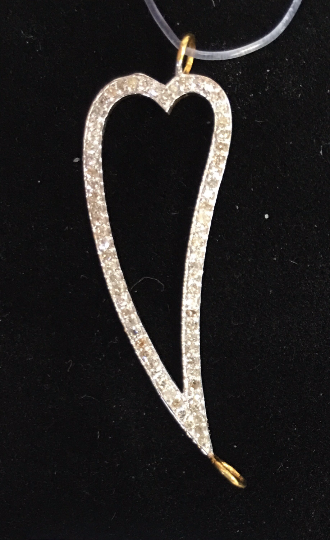 "14k Solid Gold Open Leaf Shape Diamond Pendants. Genuine handmade pave diamond Pendant. Approx Size 1.36""(34 x 12 mm)"