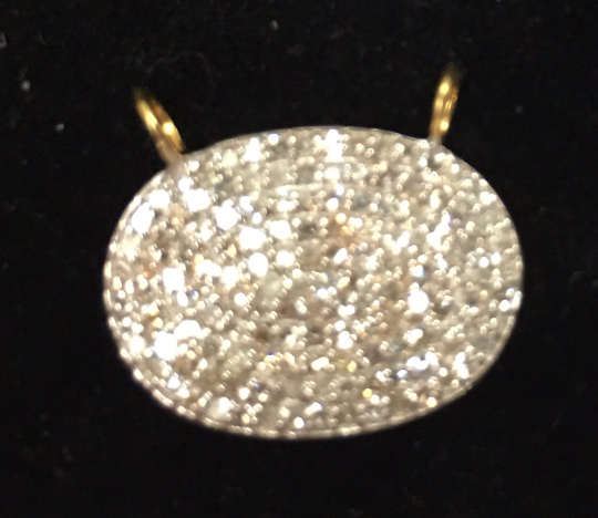14k Solid Gold Oval Shape Diamond Pendant. Genuine handmade pave diamond Pendant.