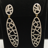 "14k Solid Gold Diamond Earrings . Genuine handmade pave diamond Earrings . Approx Size 2.40 ""(14 x 60 mm)"