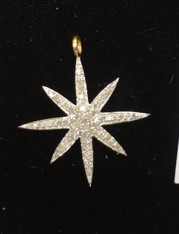 "14k Gold Star Diamond Pendants. Genuine handmade pave diamond Pendant. Approx Size 1.08 ""(27 x 24 mm)"