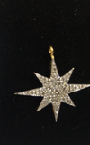 "14k Solid Gold Star Burst Diamond Pendants. pave diamond Pendant. Approx Size 0.96 ""(24 x 24 mm)"