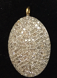 "14K Solid Gold Oval Disk Diamond Pendants. pave diamond Pendant. Approx Size 0.80 ""(20 x 14 mm)"