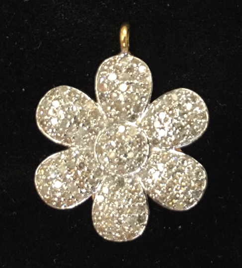 "14k Solid Gold Flowers Shape Diamond Pendants. Genuine handmade pave diamond Pendant. Approx Size 0.80 ""(20 x 20 mm)"