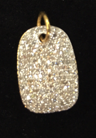 "14K Gold Dog Tag Diamond Pendants. Genuine handmade pave diamond Pendant. Approx Size 0.80 ""(13 x 20 mm)"