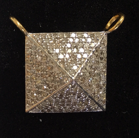 "14k Gold Square Shape Diamond Pendant. Genuine handmade pave diamond Pendant. Approx Size 0.64 ""(16 mm)"