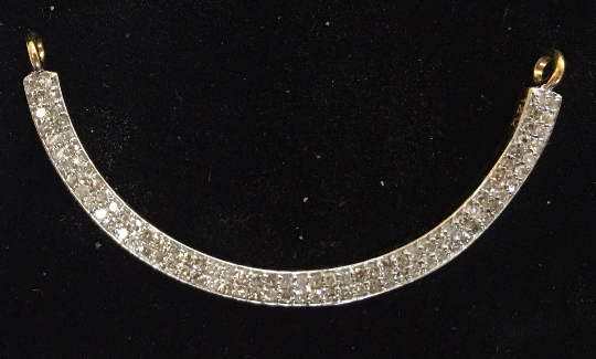 "14k Solid Gold Crescent Moon Diamond. Genuine handmade pave diamond Pendant. Approx Size 1.60 ""(40 x 3  mm)"