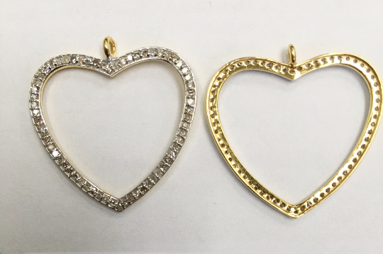 "14K Solid Gold Open Heart Shape Diamond Pendant. ppave diamond Pendant. Approx Size 1.00 ""(25 mm)"