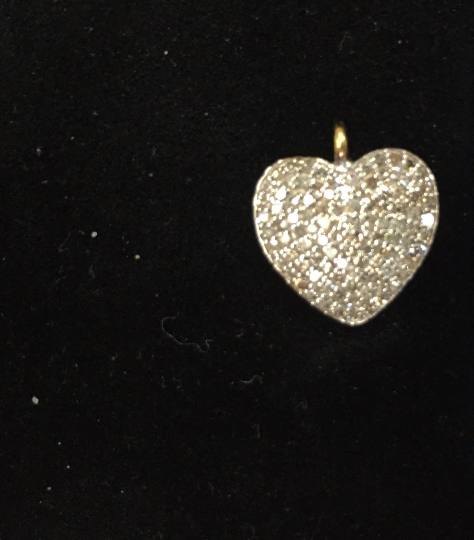 "14K Solid Gold Heart Shape Diamond Pendant Approx Size 0.56 ""(12 x 14 mm)"