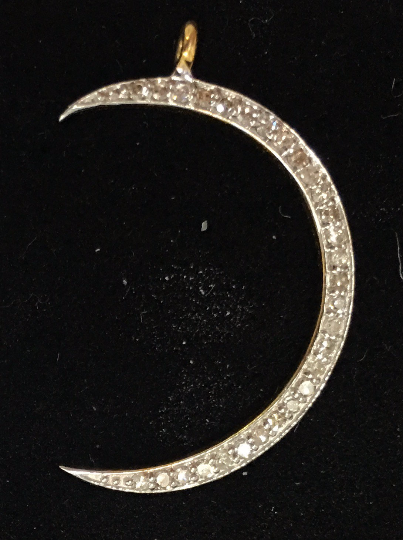 "14k Solid Gold Crescent Moon Diamond. Genuine handmade pave diamond Pendant. Approx Size 0.92 ""(4 x 23 mm)"