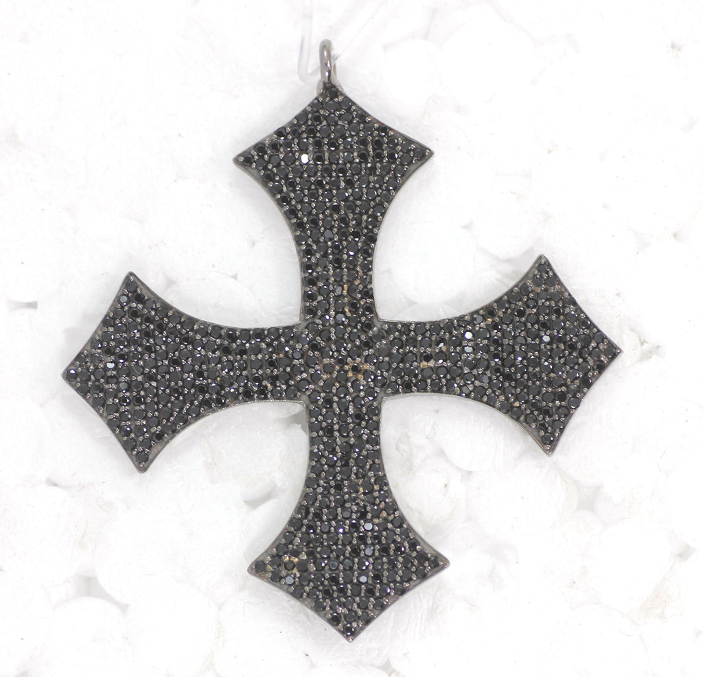 Black Spinel Sterling Silver Cross Pendant