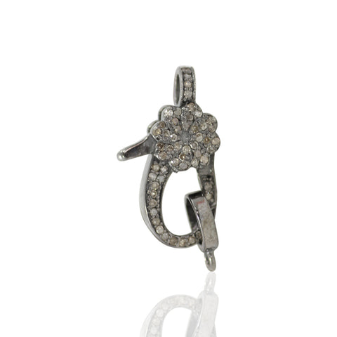 "Diamond Clasps .925 Oxidized Sterling Silver Diamond Clasps, Genuine handmade pave diamond Clasps Size Approx 0.80""(20 mm)"