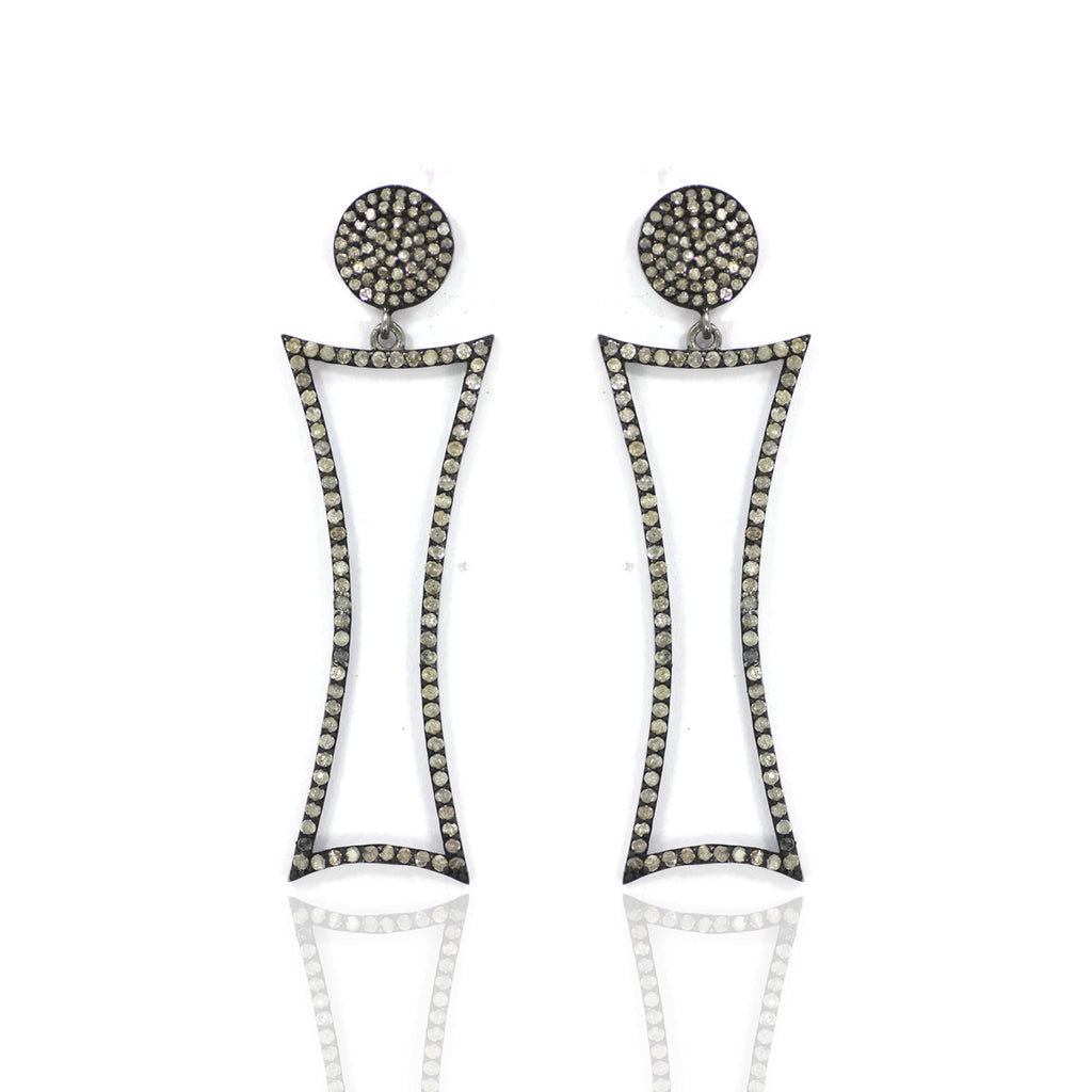 "Diamond Silver Earring .925 Oxidized Sterling Silver Diamond Earring, Genuine handmade pave diamond Earring Size 2.20""(20 x 55) MM"
