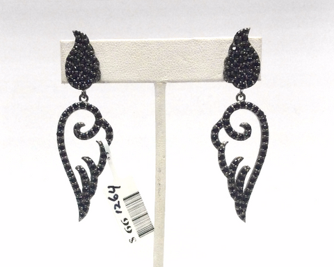 Black Spinal Silver Earring .925 Oxidized Sterling Silver Black Spinal Earring, Genuine handmade pave Black Spinal Earring Size (19 x 61MM )