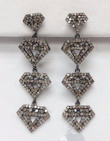 "Diamond Shape Diamond Silver Earring .925 Oxidized Silver Diamond Earring, Genuine handmade pave diamond Earring Size 2.00""(15 x 50 MM )"