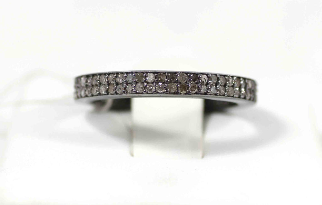 Round Pave Diamond Ring .925 Oxidized Sterling Silver Diamond Ring, Genuine handmade pave diamond Ring Size Approx (3.50 MM)