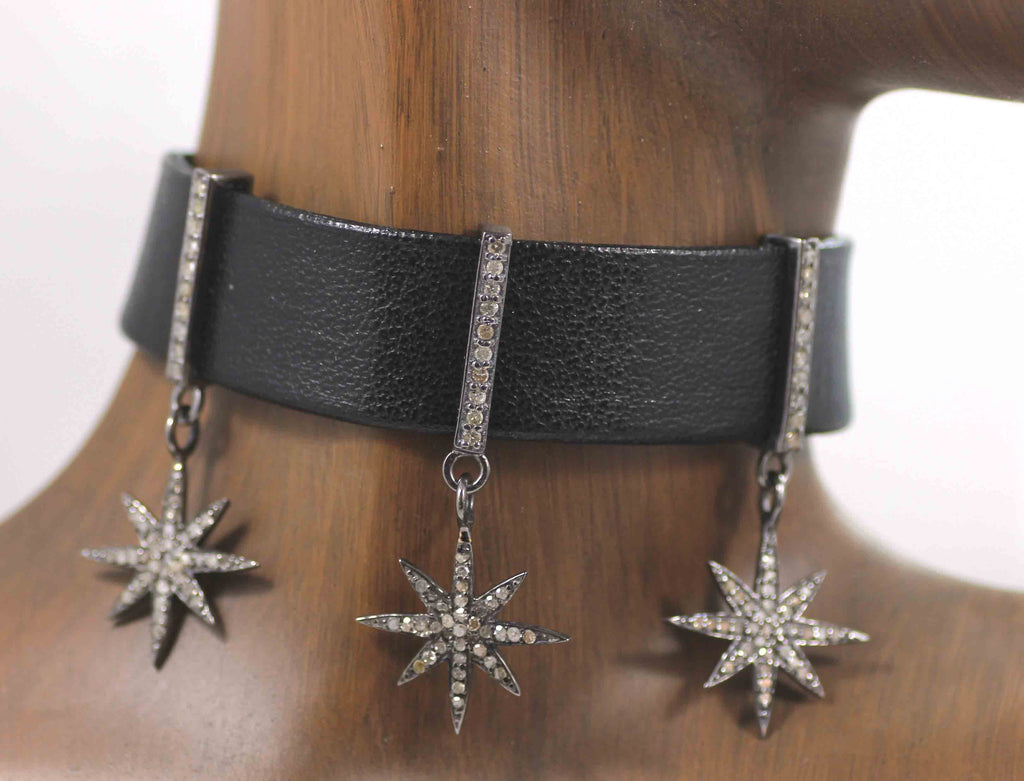 Star Leather Choker Necklaces With Pave Diamond. 925 Oxidized Sterling Silver Diamond necklaces, Genuine handmade pave diamond necklaces.
