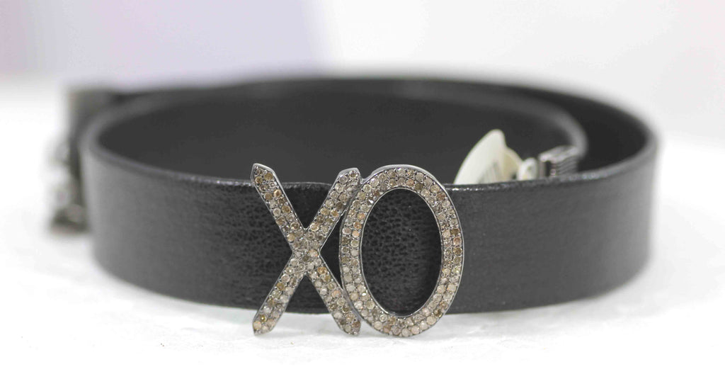 XO Leather Choker Necklaces With Pave Diamond. 925 Oxidized Sterling Silver Diamond necklaces, Genuine handmade pave diamond necklaces.