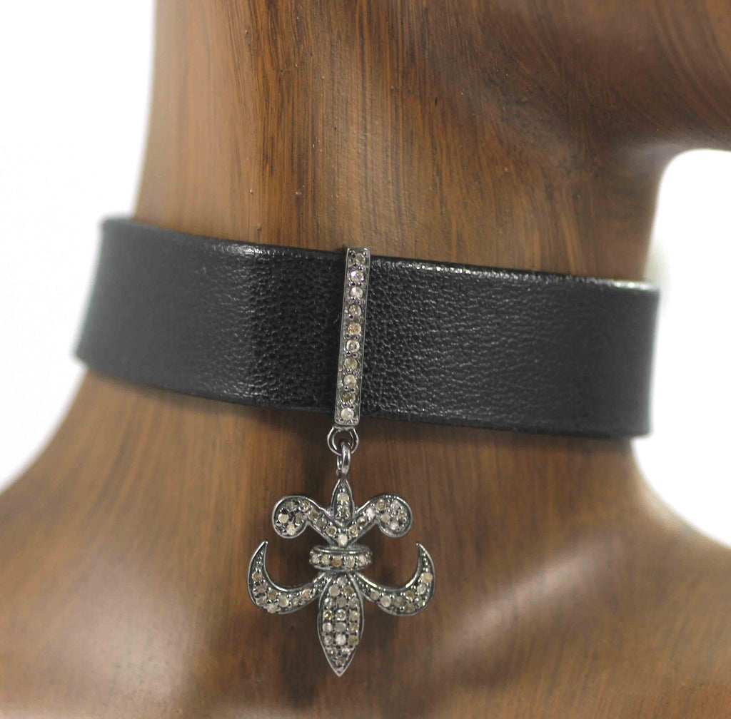 Fleur Di Lis Shape Leather Choker Necklaces With Pave Diamond. 925 Oxidized Sterling Silver Diamond necklaces, Genuine handmade pave diamond necklaces.