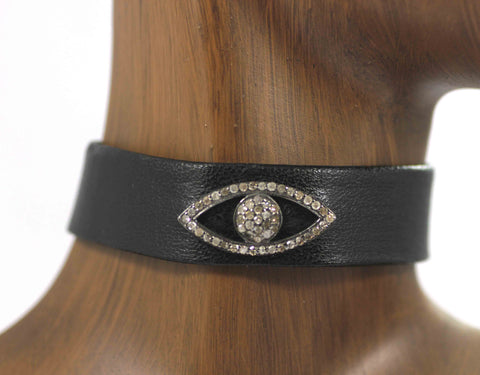 Evil Eye  Leather Choker Necklaces With Pave Diamond. 925 Oxidized Sterling Silver Diamond necklaces, Genuine handmade pave diamond necklaces.