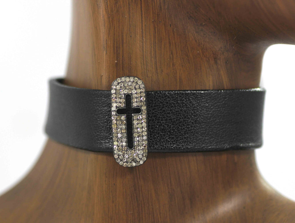 Cross Shape Leather Choker Necklaces With Pave Diamond. 925 Oxidized Sterling Silver Diamond necklaces, Genuine handmade pave diamond necklaces.
