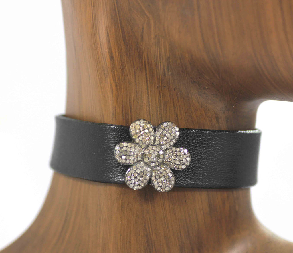 Flower Shape Leather Choker Necklaces With Pave Diamond. 925 Oxidized Sterling Silver Diamond necklaces, Genuine handmade pave diamond necklaces.
