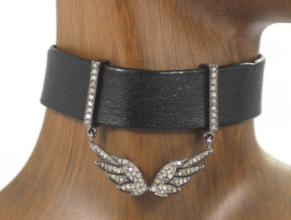 Wings Shape Leather Choker Necklaces With Pave Diamond. 925 Oxidized Sterling Silver Diamond necklaces, Genuine handmade pave diamond necklaces.