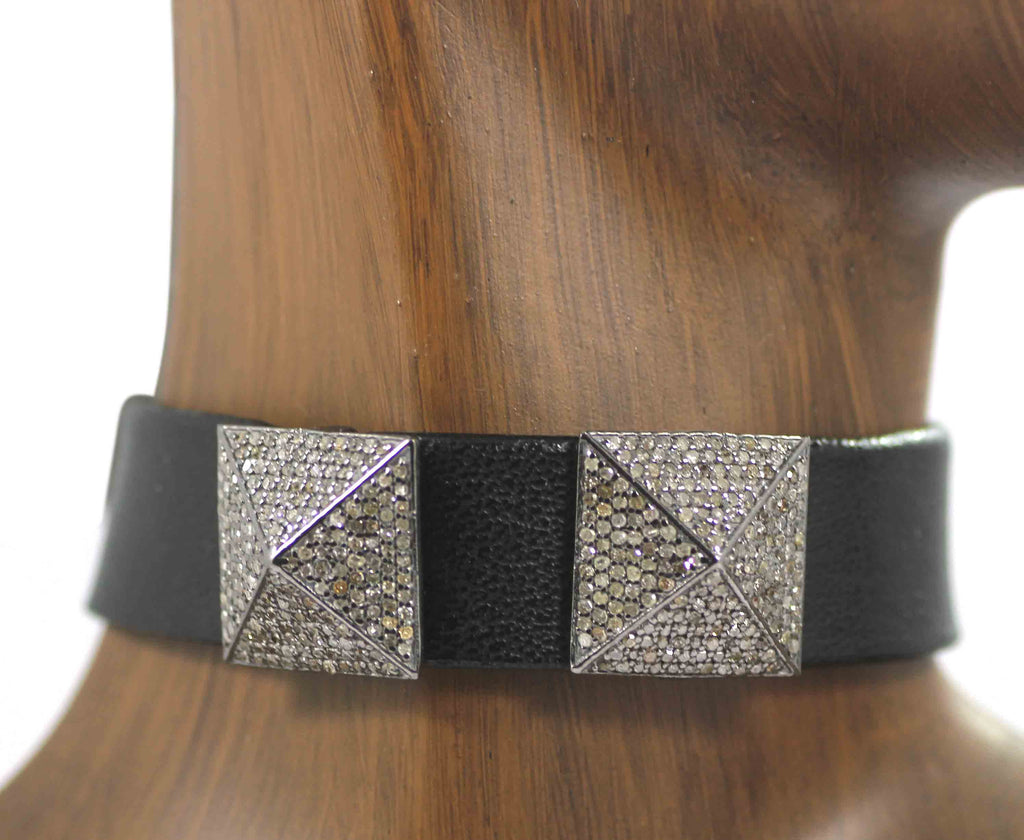 Leather Choker Necklaces With Pave Diamond. 925 Oxidized Sterling Silver Diamond necklaces, Genuine handmade pave diamond necklaces.