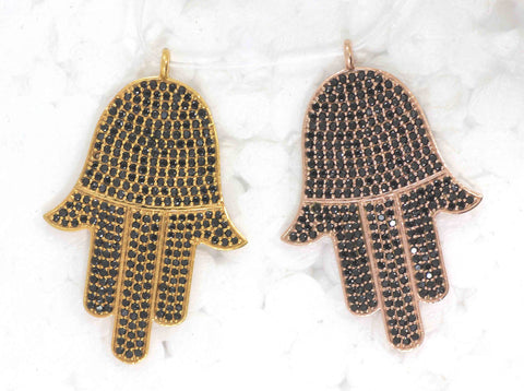 Hamsa Hand Black Spinel Charm, Pave Black Spinel ,Approx 1.56'' ( 39x28 mm) Oxidized Brass Metal, Brass ,Black Spinel