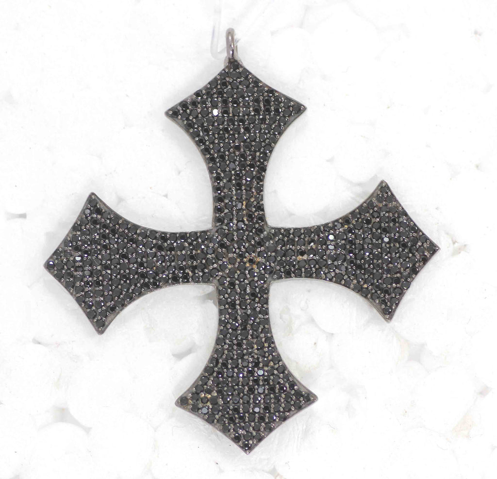 Cross Black Spinal Charm, Pave Black Spinal ,Approx 1.80''( 45 mm) Oxidized ,Black Spinel