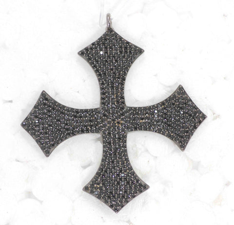 Cross Black Spinal Charm, Pave Black Spinal ,Approx 1.80''( 45 mm) Oxidized Brass Metal, Brass ,Black Spinel