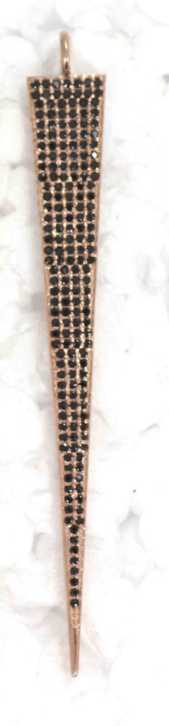 Spike Black Spinal Charm, Pave Black Spinal ,Approx 1.80''( 45 mm) Oxidized ,Black Spinel