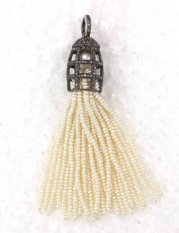 "Diamond And Pearl Tassel Necklace. 925 Oxidized Sterling Silver Diamond Tassel. Approx Size:-1.28"" (32x16 mm)"