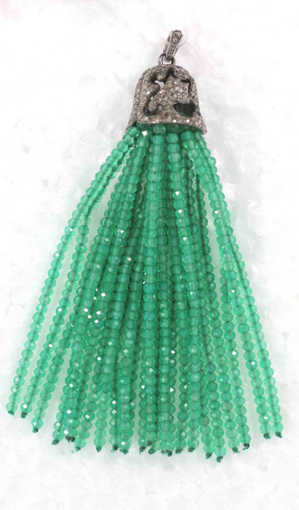 "Diamond And Green Onyx Tassel Necklace. 925 Oxidized Sterling Silver Diamond Tassel. Approx Size:-1.88"" (14x15 mm)"