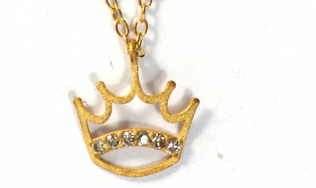 Crown Diamond Pendants. Genuine handmade pave diamond Pendant