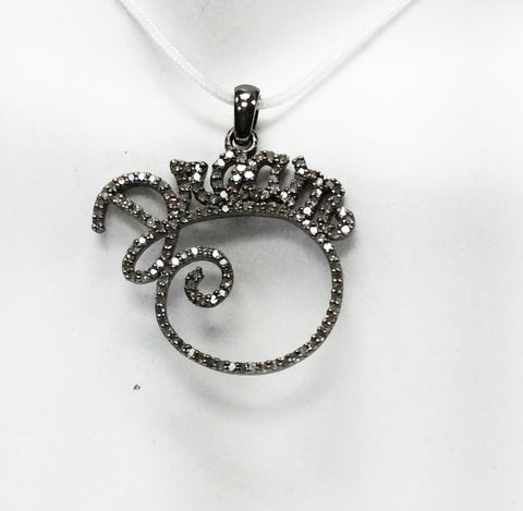 "Dream Diamond Pendant .925 Oxidized Sterling Silver Diamond Pendant, Genuine handmade pave diamond Pendant Size 1.20""(30 x 20 mm)"
