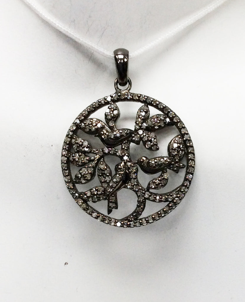 "Flower on Disc Diamond Pendant .925 Oxidized Sterling Silver Diamond Pendant, Genuine handmade pave diamond Pendant Size 1.00""(25 mm)"
