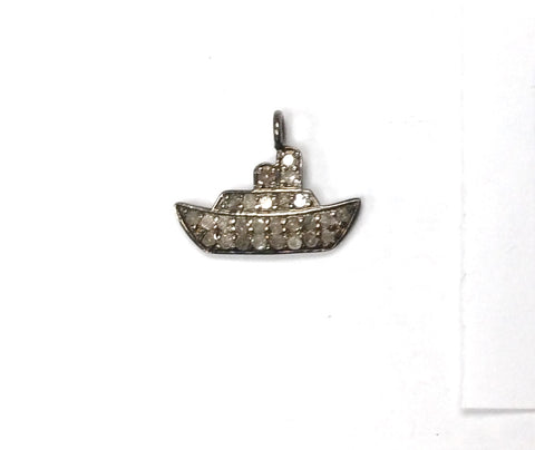 Ship Shape Pave Diamond Charm .925 Oxidized Sterling Silver Diamond Charms, Genuine handmade pave diamond Charm Size 14x18 MM