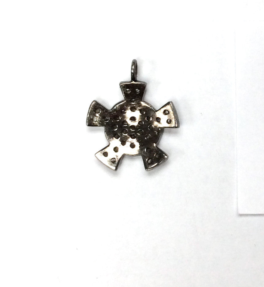 Pave Diamond Charm .925 Oxidized Sterling Silver Diamond Charms, Genuine handmade pave diamond Charm Size 17x20 MM