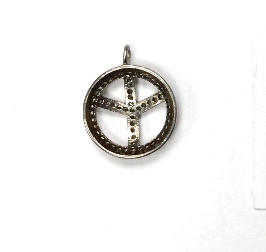 Pave Diamond Charm .925 Oxidized Sterling Silver Diamond Charms, Genuine handmade pave diamond Charm Size 18 MM