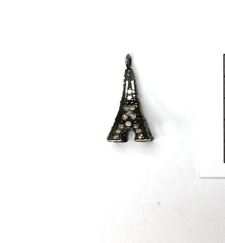 Eiffel Tower Shape Pave Diamond Charm .925 Oxidized Sterling Silver Diamond Charms, Genuine handmade pave diamond Charm Size 10x21 MM