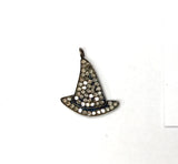 Hat Shape Pave Diamond Charm .925 Oxidized Sterling Silver Diamond Charms, Genuine handmade pave diamond Charm Size 19x23 MM