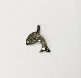 Fish Shape Pave Diamond Charm .925 Oxidized Sterling Silver Diamond Charms, Genuine handmade pave diamond Charm Size 10x14 MM