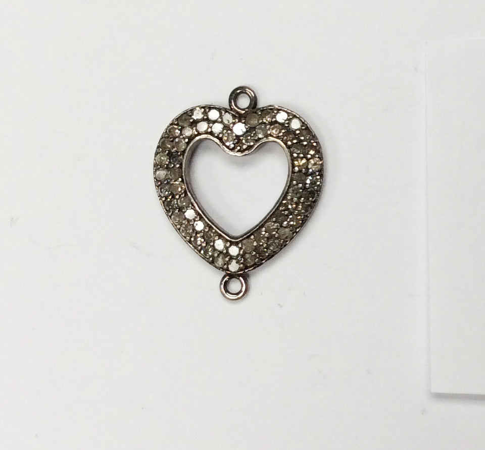 Opan Heart  Shape Pave Diamond Charm .925 Oxidized Sterling Silver Diamond Charms, Genuine handmade pave diamond Charm Size 17x22 MM