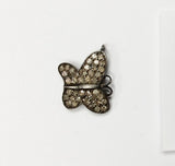 Butterfly Pave Diamond Charm .925 Oxidized Sterling Silver Diamond Charms, Genuine handmade pave diamond Charm Size 13x13 MM