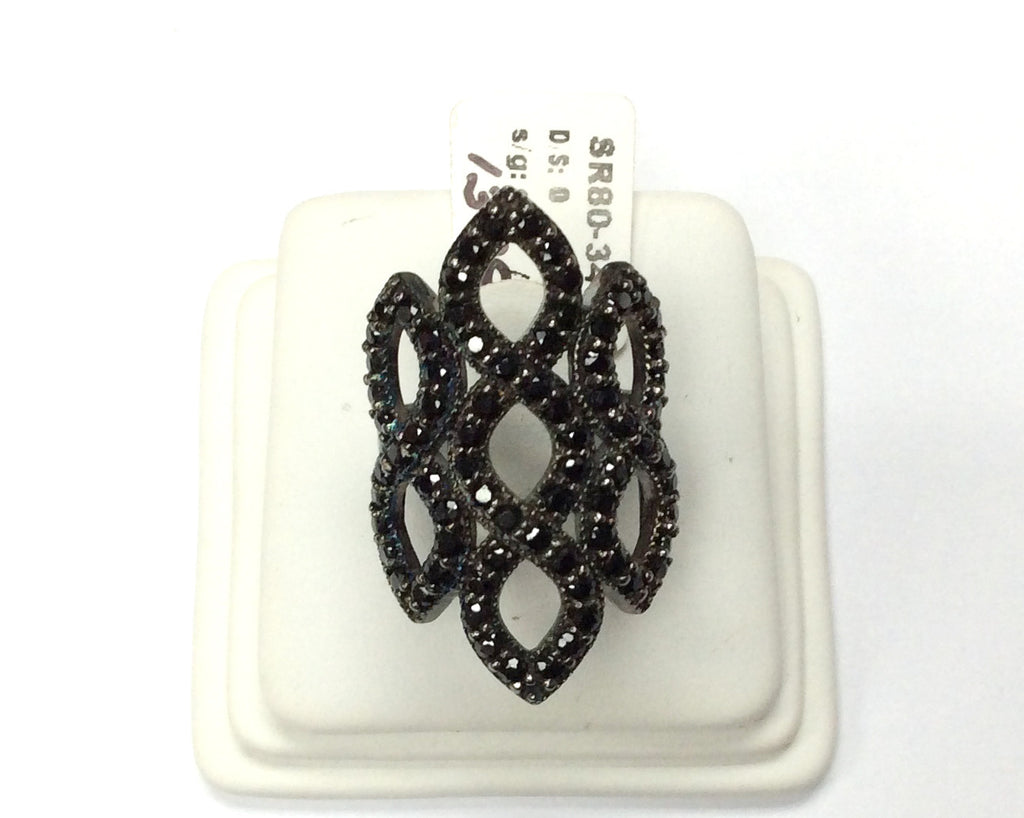 Black Spinel Ring, Pave Black Spinel Ring, Approx 33 x 18,mm. Sterling Silver